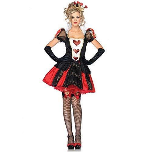 BCOGG Alice Im Wunderland Kostüm Frauen Sexy Königin Der Herzen Kostüme Rote Königin Cosplay für Halloween Weibliche Party Kleid C52654AD L