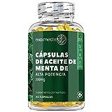 Cápsulas Aceite de Menta 200 mg - 365 Cápsulas, Mejora Digestión, Alivio Estómago Hinchado, Para la Salud Cardiovascular, Flatulencias y Digestiones Pesadas, Rico en Alicina, 6 Meses Suministro