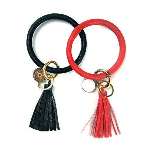 2 llaveros de pulsera para pulsera con diseño de círculo, llavero de cuero, con borla para niña (blanco roto + rosa)