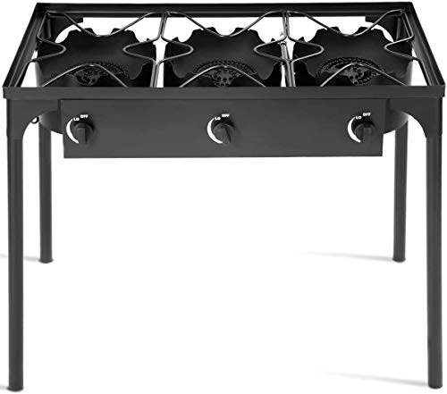 FANTASK 3-Burner Outdoor Camping Stove, Portable High Pressure Propane Gas Cooker Burner w/Detachable Legs for Patio Camp Cooking