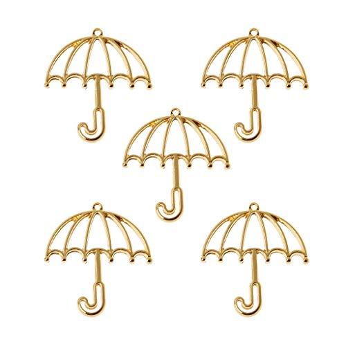 OKwife 5 Piezas Marco de Resina de Paraguas de Oro biseles Abiertos configuración Colgante en Blanco fabricación de Joyas