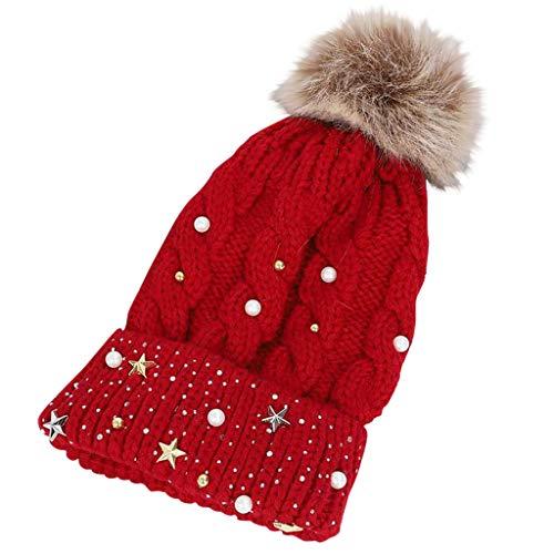 YXIU Damen Wintermütze Slouch Beanie Bommelmütze Streetwear Ski Hut Warme Strickmuster mit Bommel (Weinrot)