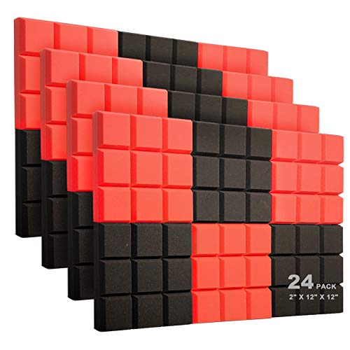 "JBER 24 Pack Set 2"" X 12"" X 12"" Acoustic Foam Panels, Soundproof Foam Wall 9 Block Tiles, Sound Panels wedges Soundproof Sound Insulation Absorbing, 9 Black&Red Blocks Design"
