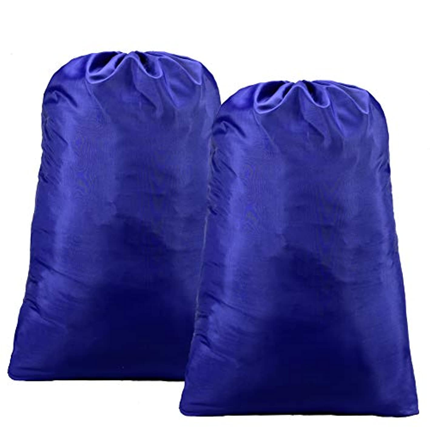"""SOMIDE 2 Pack Extra Large Laundry Bags, 28"""" x 40"""", Heavy Duty Polyester, Ripstop Drawstring Closure Machine Washable, Dirty Clothes Bag, Blue"""