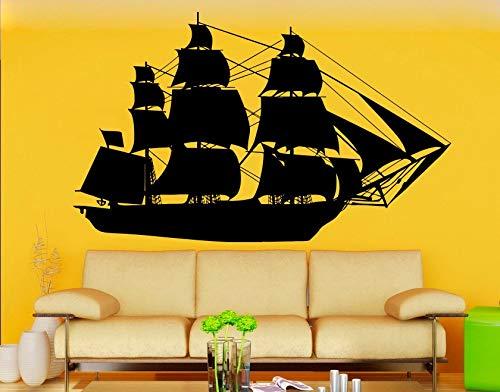 Hetingyue wanddecoratie, groot schip, silhouet, wanddecoratie, voor slaapkamer, huis, marine-stijl, cool art, vinyl