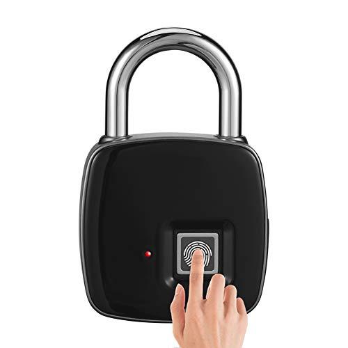 Anytek P3 Fingerabdruck-Schloss, Smart-Vorhängeschloss, wasserdicht, Sicherheitsschloss für Tür, Haustür, Rucksack, Koffer, Fahrrad, Schwarz