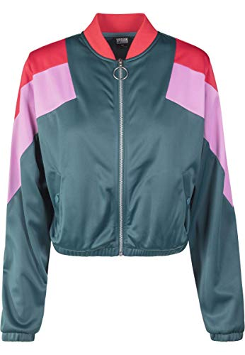 Urban Classics Damen Ladies 3-Tone Track Jacket Jacke, Mehrfarbig (Jasper/Firered/Cool Pink 01485), Medium