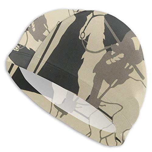 HFHY Gorro de baño Don Quijote Swim Personalidad antideslizante Sombreros de natación coloridos y creativos con bolsillos ergonómicos para cubrir las orejas - Cabello largo, para hombres adultos Mujer