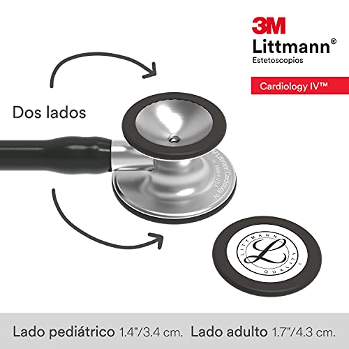 3M Littmann Cardiology IV Diagnostic Stethoscope,  Standard-Finish Chestpiece, Black Tube, Stainless Stem and Headset, 27 inch, 6152