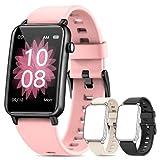 NAIXUES Smartwatch, IP68 Orologio Fitness Donna da 1.57 Pollici Cardiofrequenzimetro SpO2 Smart Watch Notifiche Messaggi Bluetooth, 3 Cinturini Activity Tracker Contapassi Calorie per Android iOS Rosa