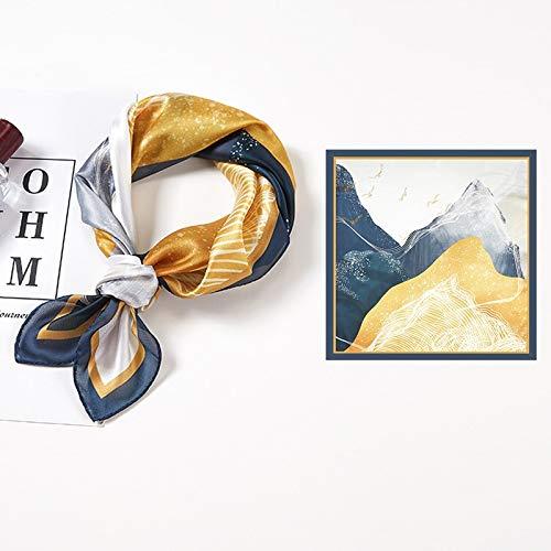 Bufanda Cuadrada de Seda para Mujer, Bufandas de Cuello pequeño a la Moda para Oficina, Banda para el Cabello para Dama, pañuelo de Mano, pañuelo para Mujer, Chal de 53 * 53 cm