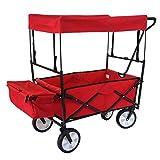 Mendler Chariot Pliable HWC-E38, Charette à Bras, Charette de Jardin - avec Toit et Poche arrière, Rouge