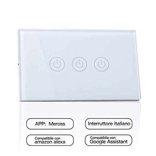 meross Wifi Smart Interruttore Parete Italiana Intelligente, 1/2/3 Gang Pannello Touch LED Antiurto Elettrico, Funzione Timer, App Controllo Remoto, Compatibile con Amazon Alexa, Google Home e IFTTT