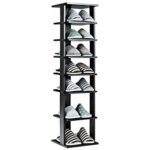 Tangkula Wooden Shoes Racks, Entryway Shoes Storage Stand, Modern 7 Tiers Shoe Rack Organizer, Space Saving Vertical Shoe Rack, Storage Shelf (Black, Single)