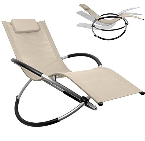 DMS® Relaxliege Liegestuhl   Gartenliege   Gartenstuhl   Klappstuhl faltbar   Schwungliege   Schaukelsessel   ergonomische Relaxsessel   wetterfest   180 kg Belastung Camping Liege (Beige)