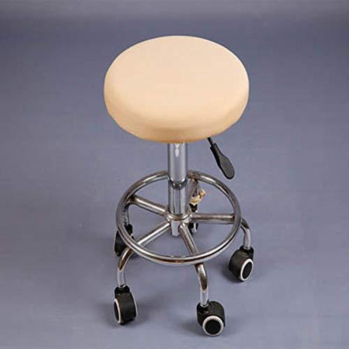 XCVB Krukhoes Ronde elastische stoelhoes Thuis Stoel Hoes Ronde stoel Barkruk Case Spandex stoelhoes Effen rood Zwart barkruk Cover, Beige