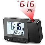 Deofde Despertador Proyector, Reloj Despertador Digital con Pantalla LCD Grande, Reloj Proyección Digital con Alarmas...