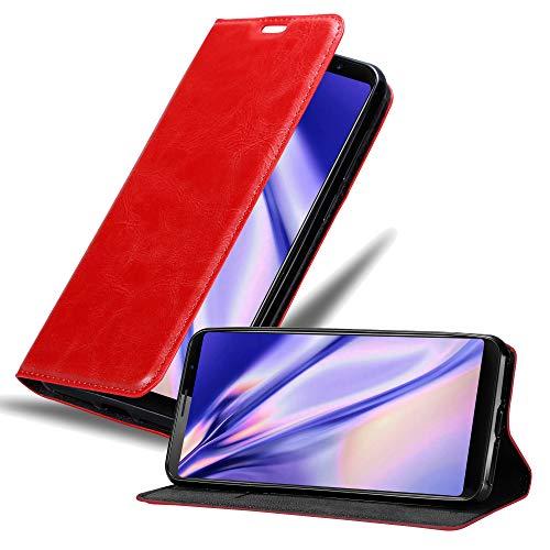 Cadorabo Hülle für Cubot Power in Apfel ROT - Handyhülle mit Magnetverschluss, Standfunktion und Kartenfach - Case Cover Schutzhülle Etui Tasche Book Klapp Style