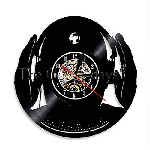 LTOOD DJ Muur Klok Club Party Mix Dans Muziek Beat Hoofdtelefoon Vinyl Record Klok Voor DJ Club 3D Nacht Licht Decoratief
