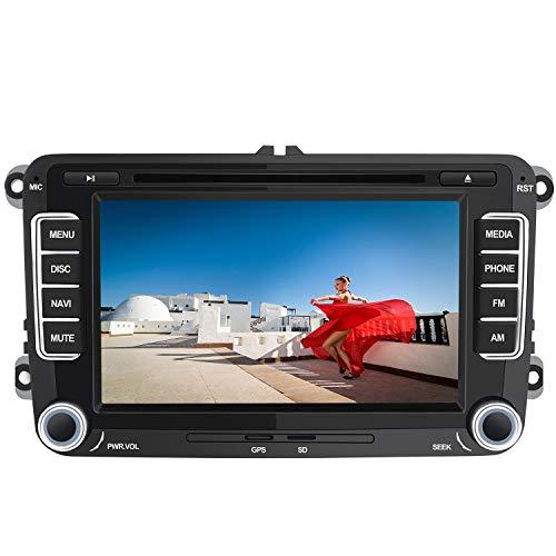 AWESAFE Radio Coche 7 Pulgadas con Pantalla Táctil 2 DIN para Volkswagen, Autoradio para VW con Bluetooth/GPS/FM/RDS/CD DVD/USB/SD, Apoyo Mandos Volante, Mirrorlink y Aparcacimiento