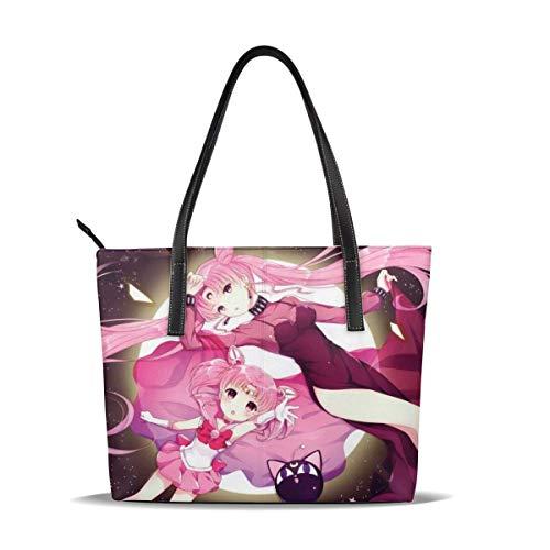 Sailor Moon Tragetasche für Damen, Leder-Reißverschluss-Handtaschen, großes Fassungsvermögen, wasserdicht, langlebig innen, 1 Reißverschlusstasche, geeignet für Arbeit,...