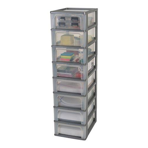 Amazon Marke - Iris Ohyama Schubladenschrank / Schubladencontainer - Organizer Chest OCH-2008 - plastik, silber, 8 x 7 L , L35,5 x B26 x H96,5 cm