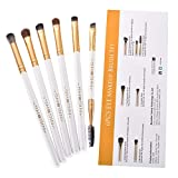 Eyebrow brush set,SMOSIN 6 Pieces Eyeshadow Brush Professional Eye Brow Brushes Kit, Portable Blending Brushes for Eyes White