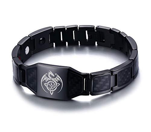 XUANPAI Celtic Dragon Celtic Trinity Knot Triquetra Flügel Drachen Magnetfeldtherapie Gesundheit Armband Balance Carbon Armband Geschenk Schmuck für Männer, schwarz