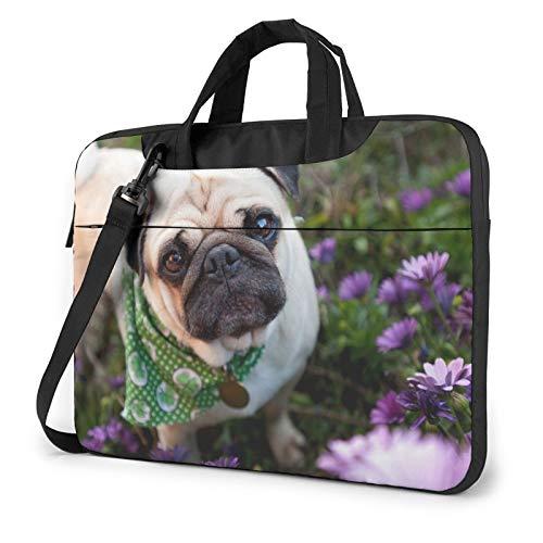 Bolso de hombro para portátil – Pugs in The Garden Impreso a prueba de golpes impermeable portátil bolsa de hombro mochila maletín, Black (Negro) - 259841-Black-136