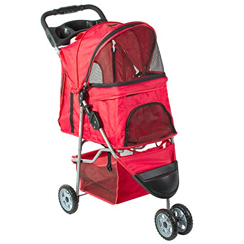 VIVO Red 3 Wheel Pet Stroller for Cat, Dog and More, Foldable Carrier Strolling Cart, STROLR-V003R