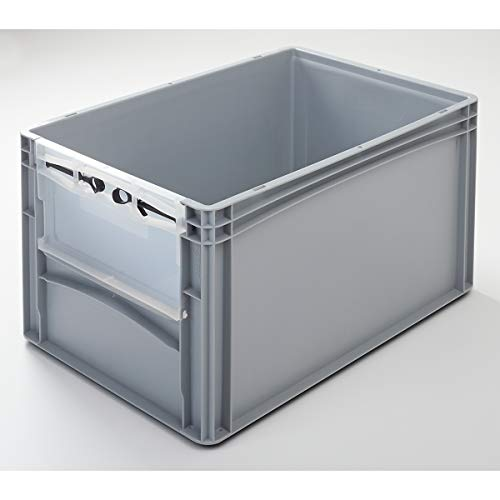 EURO-Behälter | LxB 600 x 400 mm | mit Frontklappe | Höhe 320 mm | VECTURA - Box Boxen EUR-Stapelbehälter Euronorm-Stapelkasten Euronorm-Stapelkästen Lagerbehälter Lagerkasten Lagerkästen Mehrzweckbehälter Vielzweckbehälter