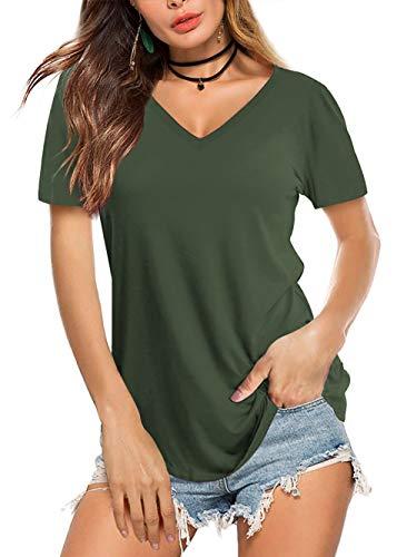 AMORETU Tuniken T-Shirt Damen Sommer Casual Bluse Tops Kurzarm und Langarmshirt Oberteil, C-olivgrün, 36 / S