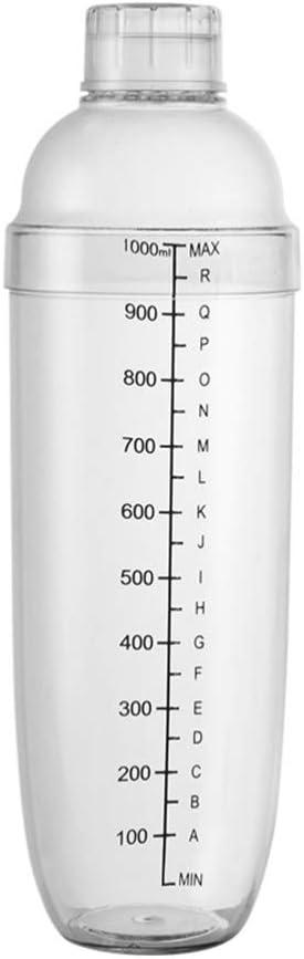 Lurrose Coctelera Coctelera Coctelera Mezcladora de Resina Transparente Mezcladora de Vino Coctelera de Leche Té con Báscula Herramientas para Vino 1000Ml