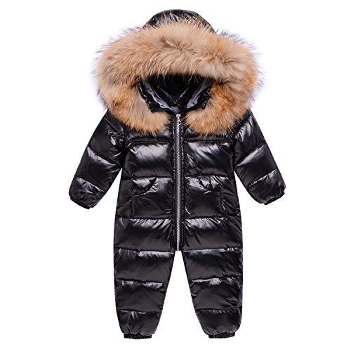 JinBei Bambino Tute da Neve Tuta da Sci Inverno Pagliaccetto con Cappuccio di Piuma Piumino Nero Abiti Invernali Abbigliamento Manica Lunga Ragazzo Ragazza 6-9 Mesi