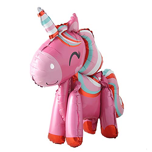 Self Stand steadily Unicorn Birthday Party Decorations Supplies Wedding Engagement Children's Day Foil Unicorn Horse Animal Balloons Toy (Dark Pink)