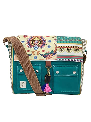 The House of Tara Teal Green Vintage Crossbody Canvas Sling Messenger bag with Stylish Design for Women