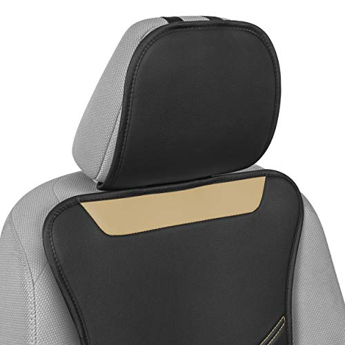Motor Trend LuxeFit Beige Faux Leather Car Seat Cover for Front Seats, 1 Piece – Padded Universal Fit Luxury Cover, Faux Leather Sideless Protector for Car Truck Van
