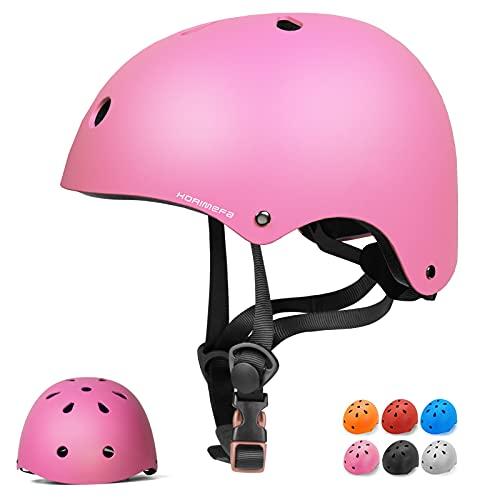 KORIMEFA Kinderhelm Fahrradhelm Kinder Skaterhelm Verstellbar für 3 Jahre Junge CE-Zertifizierung für Fahrrad Skateboard Scooter BMX 3-13 Jahre Alt Junge Mädchen (Pink, S)