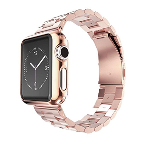 Apple Watch Band, Creazy Stainless Steel Strap Watch Band+Adapter+Case Cover for Apple Watch 42mm (Rose Gold)