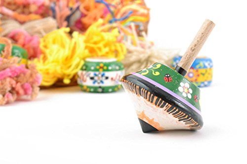 Great Deal! MadeHeart | Buy handmade goods Small Handmade Painted Wooden Spinning Top Eco Children's...