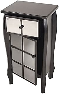 Heather Ann Creations Bombe Style Single Drawer Accent Cabinet/Console with Front Square Panel Smoked Mirrored Accents, 32.7