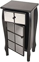 Heather Ann Creations Bombe Style Single Drawer Accent Cabinet/Console with Front Square Panel Smoked Mirrored Accents, 32...