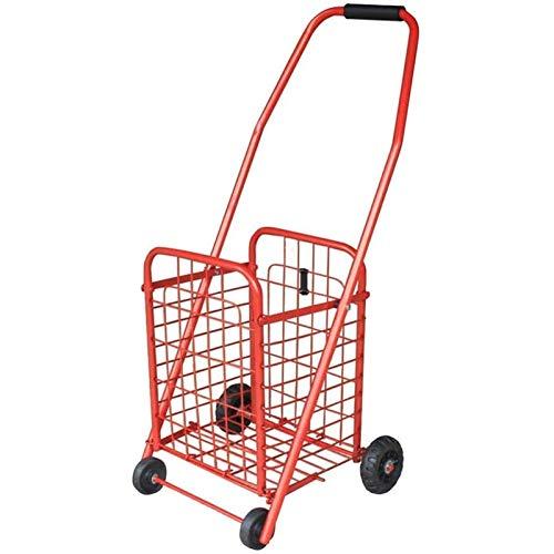 HHTD Diseño Plegable Duradero para un fácil Almacenamiento de carritos de Compras. (Color : Red)