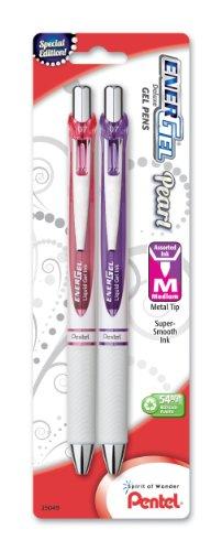 Pentel EnerGel Pearl Deluxe RTX Retractable Liquid Gel Pen, 0.7mm, Pink Ink/Violet Ink, 2 Pack (BL77WBP2PV)
