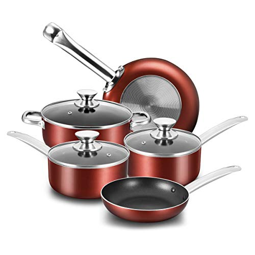 COOKER KING Nonstick Cookware Set, 8-Piece Nonstick Pots and Pans Set with Glass Lids, Baking Sets, Cooking Pots Set, Oven Safe, Dishwasher Safe, Stainless Steel Handles, NO PFOA/NO Toxin, 8pcs, Red