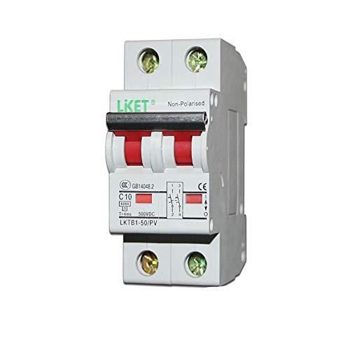 OIASD Interruptor fotovoltaico CC Interruptor Abierto CC 2P CC 500V 1000V Protección contra Fugas, 10A