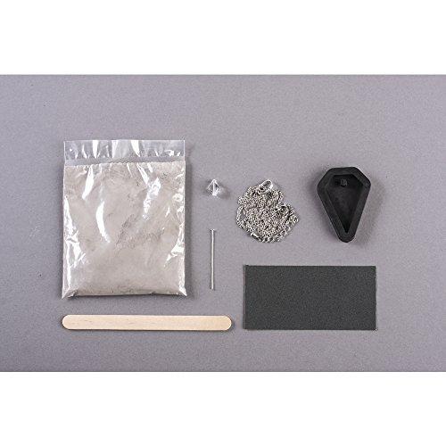Rayher Juego de Manualidades, Colgante de Diamante con Perla Swarovski Cadena de eslabones de Metal con Cierre, Hormigón, Gris, 17 x 10 x 2 cm