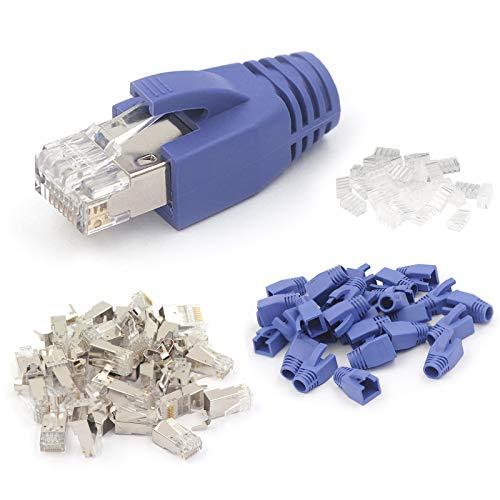 VCE 1.ª generación 20 Unidades de Conector RJ45 Cat7 Cat6A para Cable Ethernet Cable con Funda de Azul Chapados en Oro