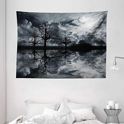 Tapestry Wall Hanging, Landscape Tapestry 3D Graphic Fantasy Land At Night Cloudy Sky Moon Trees Water Reflection Black White Grey Wall Decor for Dorm Living Room Bedroom 59.1x39.4 Inch