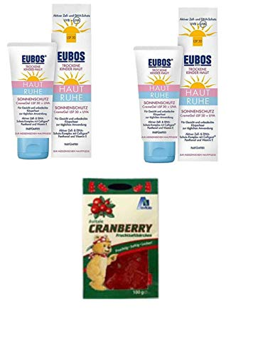 Eubos Med Sonnenschutz CremeGel LSF 30+ UVA für trockene Kinderhaut. Sparset 2x50 ml + GRATIS Avitale Cranberry Fruchtsaftbärchen+ Vitamin C